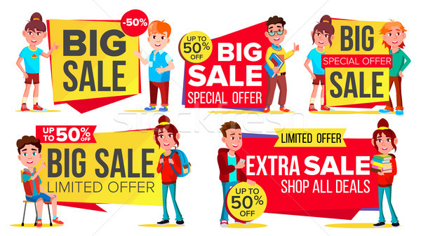 Big Sale Banner Set Vector. School Children, Pupil. Kids School Shopping. Half Price Colorful Sticke Stock photo © pikepicture