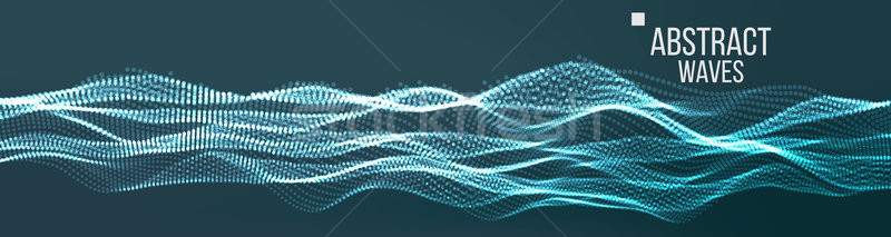 Music Waves Abstract Sound Background Vector. Cyber UI, HUD Element. Network Wireframe. Illustration Stock photo © pikepicture