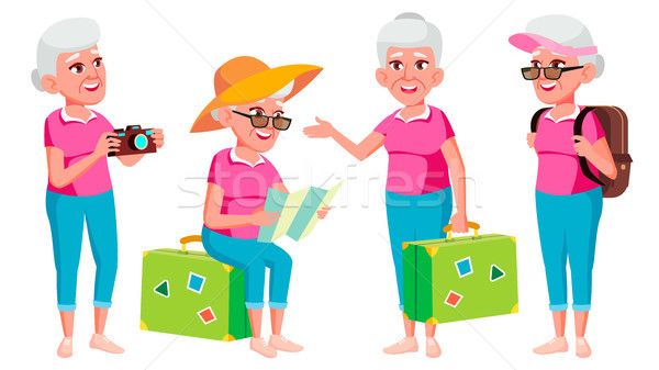 Old Woman Poses Set Vector. Elderly People. Senior Person. Aged. Tourist, Tourism. Positive Pensione Stock photo © pikepicture