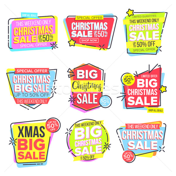 Christmas Big Sale Sticker Set Vector. Template For Advertising. Discount Tag, Special Offer Banner. Stock photo © pikepicture