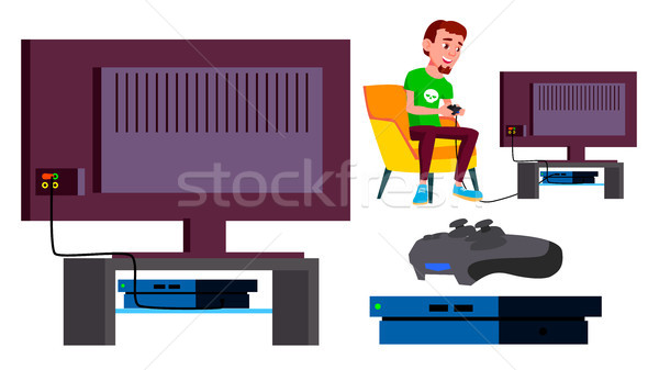 Video Game Console Vector. Teen Playing. Modern Plasma. Pad Controller. Addiction. Isolated Cartoon  Stock photo © pikepicture