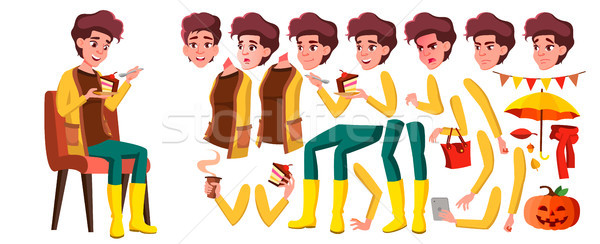 Teen Girl Vector. Animation Creation Set. Face Emotions, Gestures. Active, Expression. Animated. For Stock photo © pikepicture