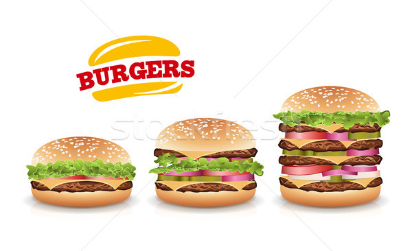 Fast Food Realistic Burger Vector. Set Hamburger Stock photo © pikepicture
