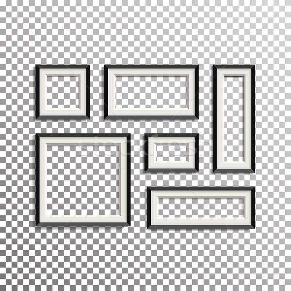 Blank Picture Frame Template Composition Set Vector Illustration