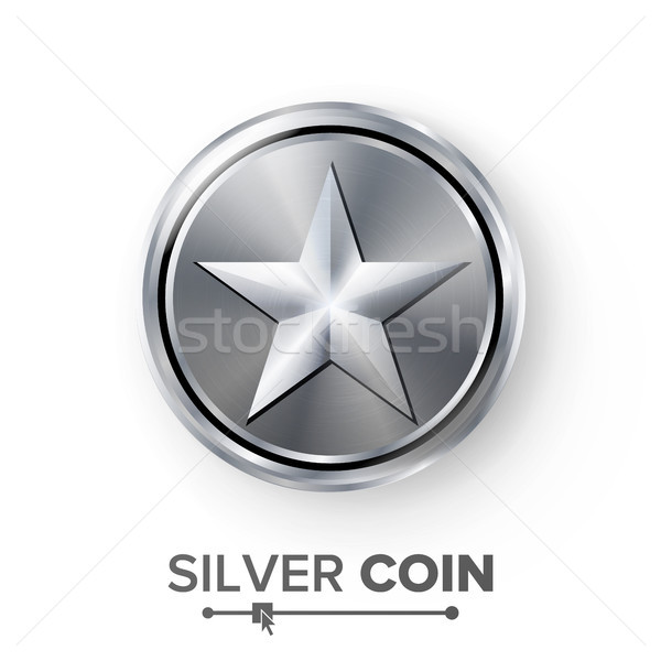 Game Silver Coin Vector With Star. Realistic Silver Achievement Icon Illustration. For Web, Video Ga Stock photo © pikepicture