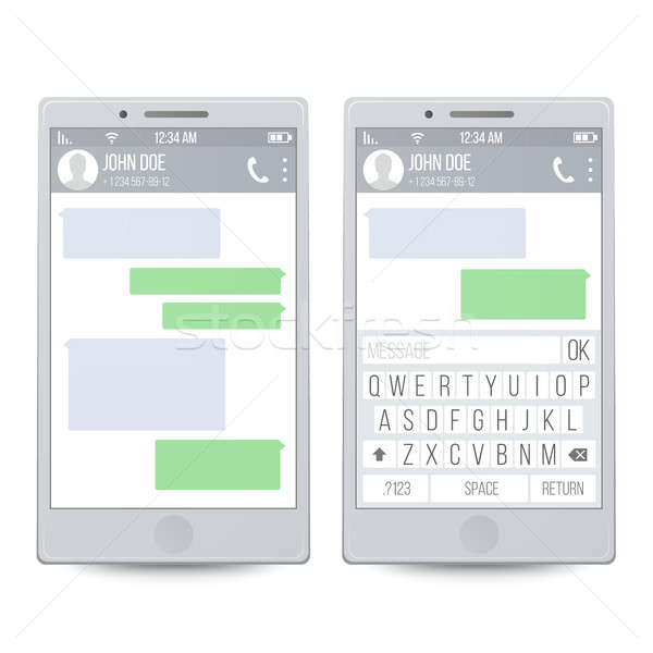 Mobile Chat On Line. Chatting With Texting Message Concept. Chat Boxes. User Talking To Another Pers Stock photo © pikepicture