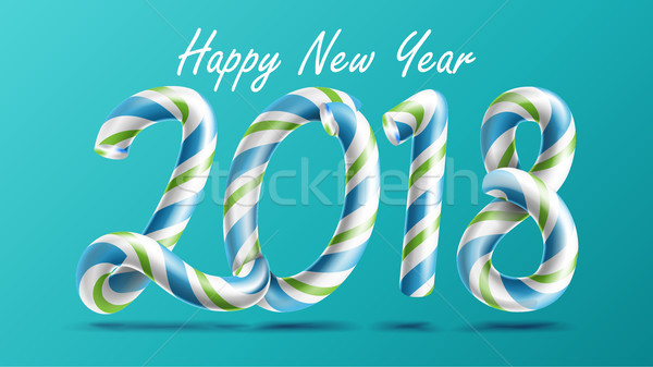 2018 Happy New Year Vector. 3D Number Sign In Christmas Colours. Classic Xmas Candy Cane. New Year P Stock photo © pikepicture