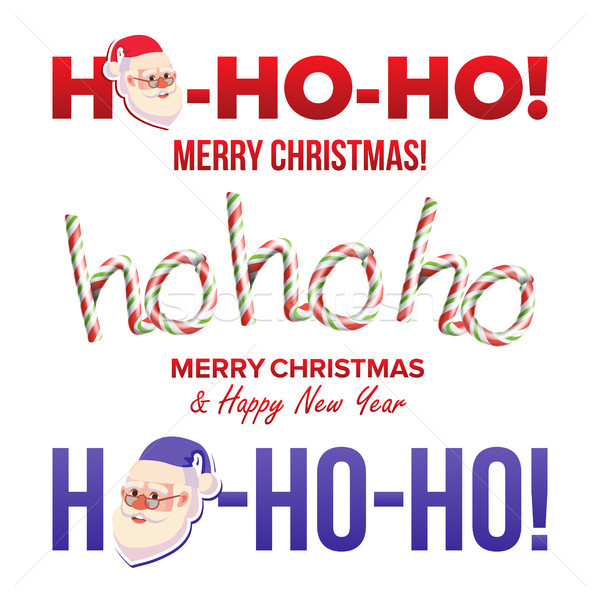 Ho-Ho-Ho Sign Set Vector. Merry Christmas, Happy New Year Greeting Card. Text Phrase Element For Des Stock photo © pikepicture