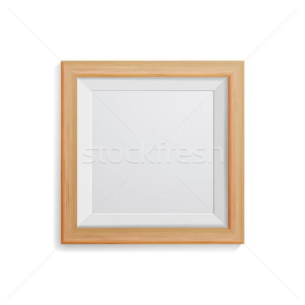 Realista photo frame vetor praça luz madeira Foto stock © pikepicture