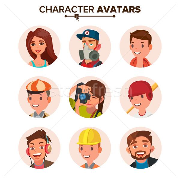 Emberek szett vektor arc érzelmek betűk Stock fotó © pikepicture