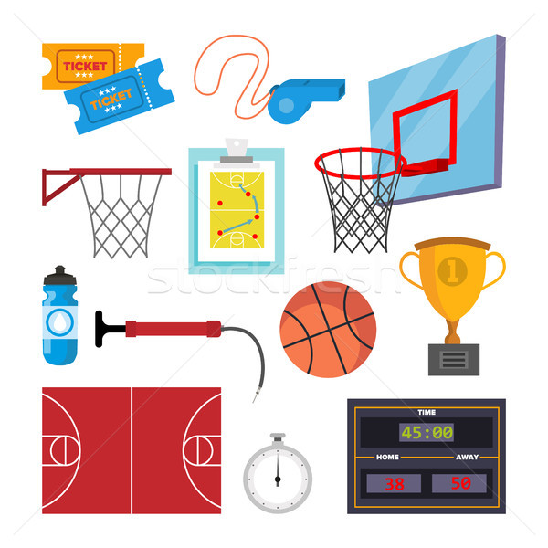 Basketball Icons Set Vector. Sport Basketball Symbol And Accessories. Isolated Flat Cartoon Illustra Stock photo © pikepicture