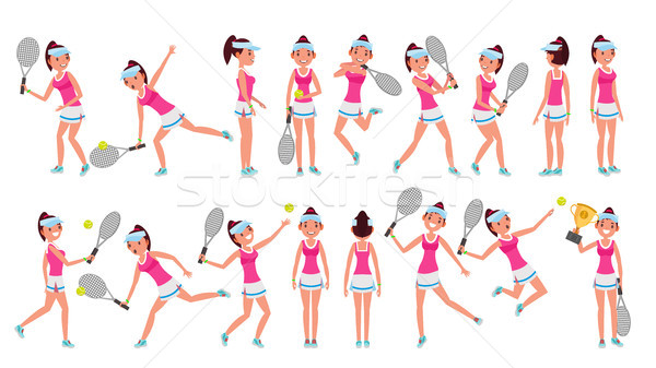 Woman Tennis Player Vector. Playing With The Ball. Different Poses. In Action. Flat Cartoon Illustra Stock photo © pikepicture