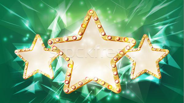Gold Star Frame Vector. Beauty Diamond Three Star Emblem. Rays. Shine Lamp. Advertising Design Eleme Stock photo © pikepicture
