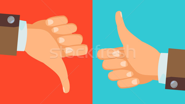 Dislike, Like Hands Vector. Thumbs Up, Thumbs Down Icons. Social Network Symbol. Flat Cartoon Illust Stock photo © pikepicture