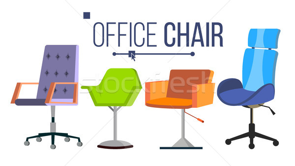 Furniture Chairs Vector. Home, Office Objects. Design Interior Element. Modern Isolated Flat Illustr Stock photo © pikepicture