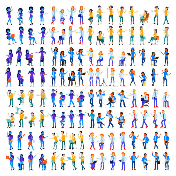 People Set Vector. Man, Woman. Modern Gradient Colors. People Different Poses. Creative People. Desi Stock photo © pikepicture