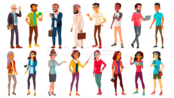 Multinational People Set Vector. Different Ages. Men, Women. Professional Character. Working People  Stock photo © pikepicture