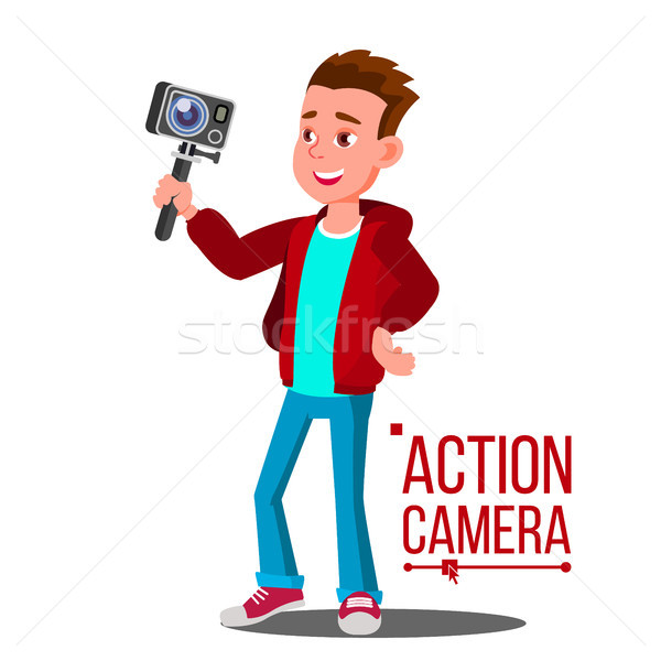 Child Boy With Action Camera Vector. Self Video, Portrait. Shooting Process. Isolated Cartoon Illust Stock photo © pikepicture