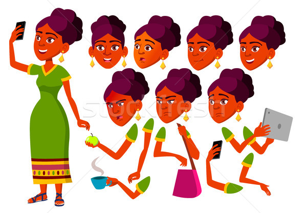 Teen Girl Vector. Indian, Hindu Teenager. Leisure, Smile. Asian. Face Emotions, Various Gestures. An Stock photo © pikepicture