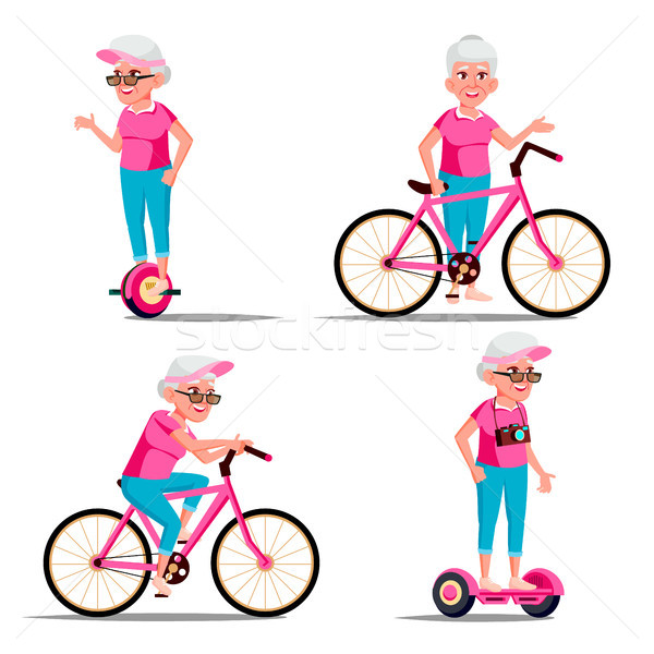 Old Woman Riding Hoverboard, Bicycle Vector. City Outdoor Sport Activity. Gyro Scooter, Bike. Eco Fr Stock photo © pikepicture