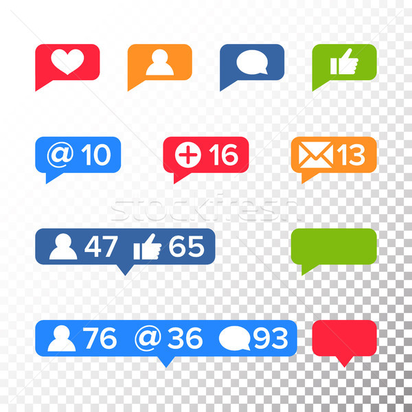 Notifications Icons Template Vector. Like symbol, Message and notification set. instagram icons Stock photo © pikepicture