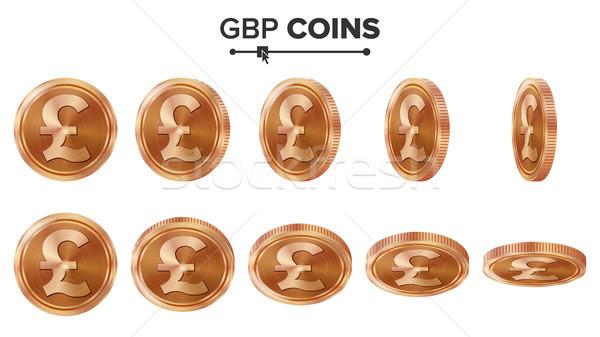Pénz 3D réz érmék vektor szett Stock fotó © pikepicture