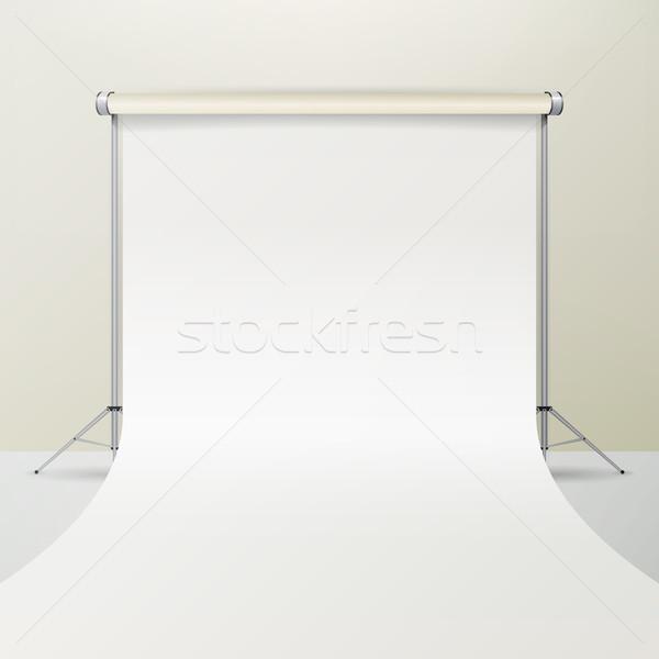 Stockfoto: Foto · studio · vector · lege · witte · doek