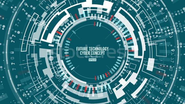 Streszczenie futurystyczny wektora bezpieczeństwa cyberprzestrzeń Zdjęcia stock © pikepicture
