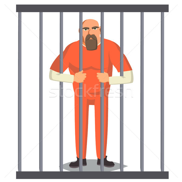 Prisoner Man In Pokey Vector. Outlaw Robber Arrested And Locked. Cartoon Character Illustration Stock photo © pikepicture