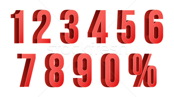 3D Red Discount Numbers Vector. Percent. Numbers From 0 to 9. Percentage Icon Set In 3D Style. Isola Stock photo © pikepicture