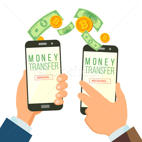 Mobile Money Transferring Banking Concept Vector. Hand Holding Smartphone. Dollar And Bitcoin. Wirel Stock photo © pikepicture