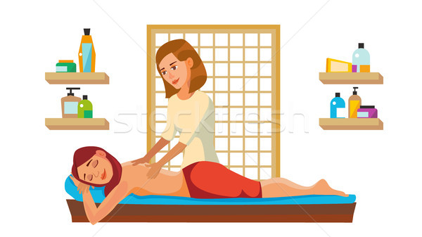 Spa Massage Wellness Salon Vector. Anti Aging Spa Massage. Flat Cartoon Illustration Stock photo © pikepicture