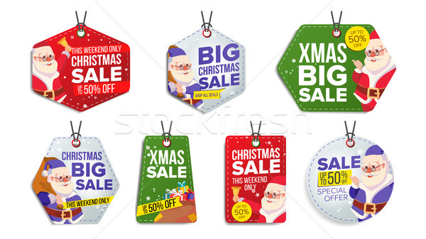 New Year Sale Tags Vector. Colorful Shopping Discounts Stickers. Santa Claus. Discount Concept. Seas Stock photo © pikepicture