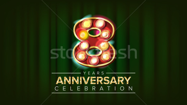 8 Years Anniversary Banner Vector. Eight, Eighth Celebration. 3D Glowing Element Digits. For Congrat Stock photo © pikepicture