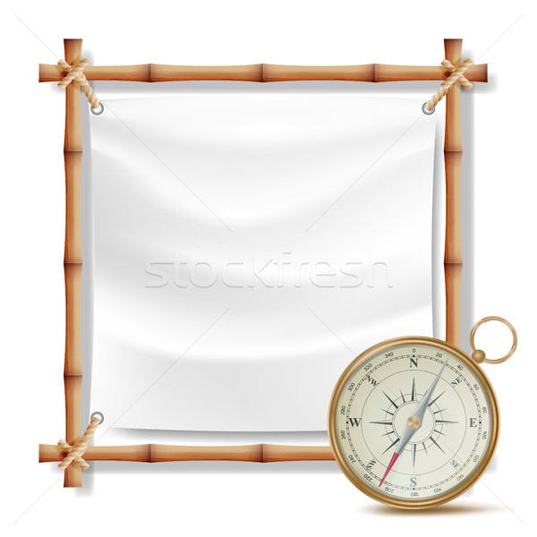 Bamboo Frame And Metal Compass Vector. Summer Travel Concept. Isolated Illustration Stock photo © pikepicture