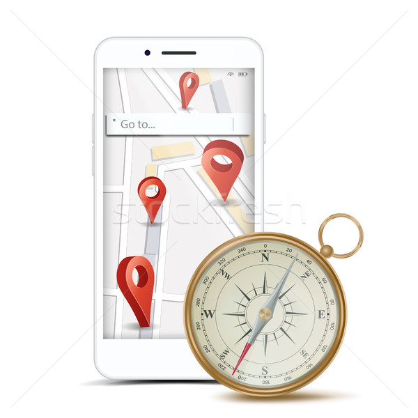 GPS App Concept Vector. Navigation, Travel, Tourism, Location Route Planning. Web Travel Or Taxi Ser Stock photo © pikepicture