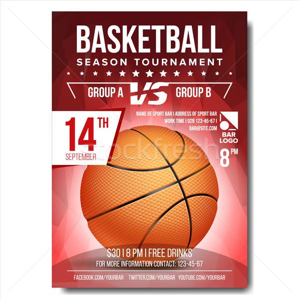 Kosárlabda poszter vektor szalag hirdetés sport Stock fotó © pikepicture