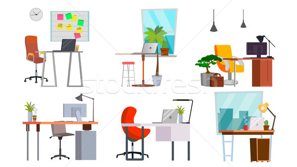 Office Workplace Set Vector. Interior Of The Office Room, Creative Developer Studio. PC, Computer, L Stock photo © pikepicture