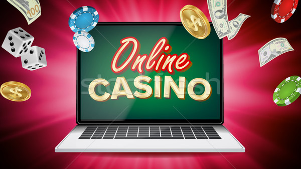 Online casino vector banner laptop poker Stockfoto © pikepicture