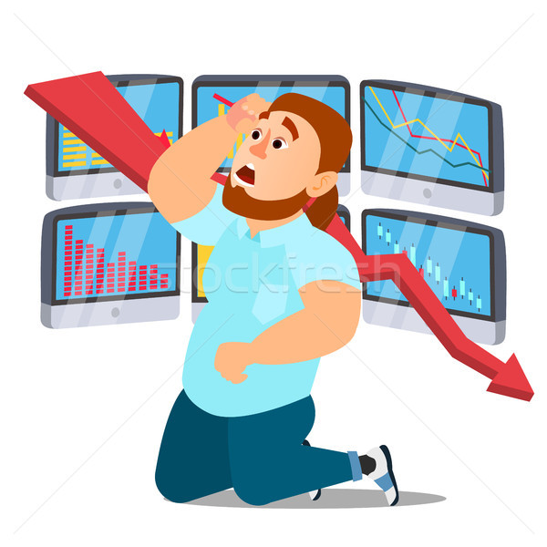 Unhappy Nervous Businessman Vector. Screaming Male. Financial Crisis. Office Worker. Isolated Flat C Stock photo © pikepicture