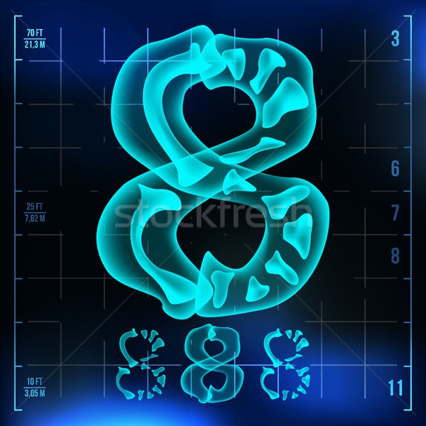 8 Number Vector. Eight Roentgen X-ray Font Light Sign. Medical Radiology Neon Scan Effect. Alphabet. Stock photo © pikepicture