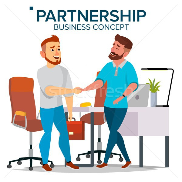 Business Partnership Concept Vector. Two Business Man. Closing deal Document. Business Connection. I Stock photo © pikepicture