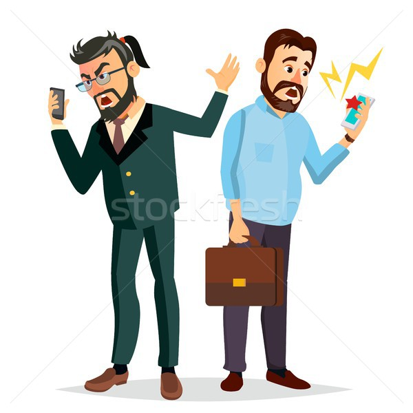 Boss Shouting On Phone Vector. Screaming, Problem, Quarrel Concept. Boss In Action. Talking To Each  Stock photo © pikepicture