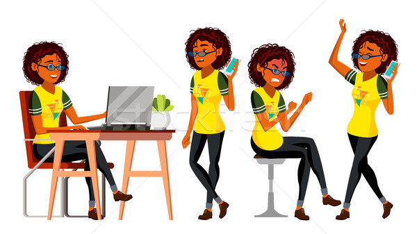 Business African Black Woman Character Vector. Female In Different Poses. Clerk In Office Clothes. D Stock photo © pikepicture