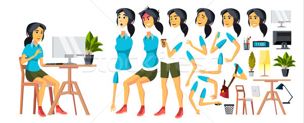 Office Worker Vector. Woman. Modern Employee, Laborer. Korean, Vietnamese, Japanese Business Worker. Stock photo © pikepicture