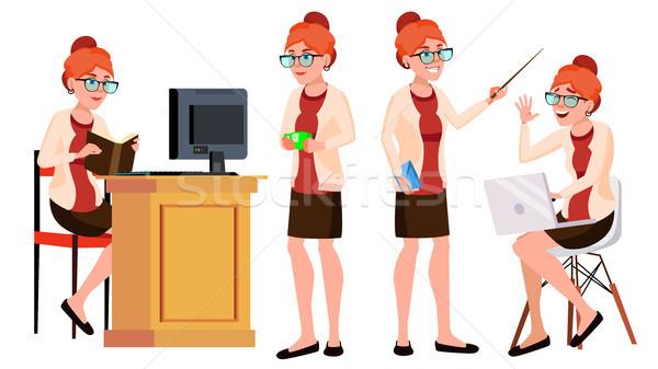 Stockfoto: Kantoormedewerker · vector · vrouw · gelukkig · dienaar · werknemer