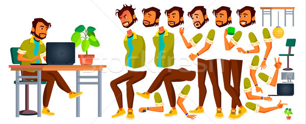 Office Worker Vector. Indian. Emotions, Gestures. Animation Creation Set. Lifestyle Generator. Busin Stock photo © pikepicture