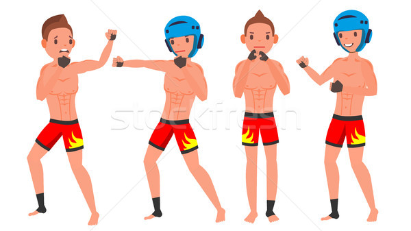 MMA Male Player Vector. Fighting On Ring, Cage, Arena. Playing In Different Poses. Man Athlete. Isol Stock photo © pikepicture
