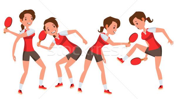 Tenis stołowy gracz kobiet wektora piłka stylizowany Zdjęcia stock © pikepicture