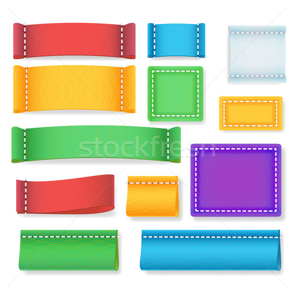 color label fabric blank vector realistic fabric clothing labels
